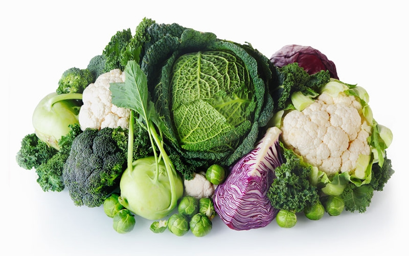 Kale, cabbage, broccoli, cauliflower, brussels sprouts