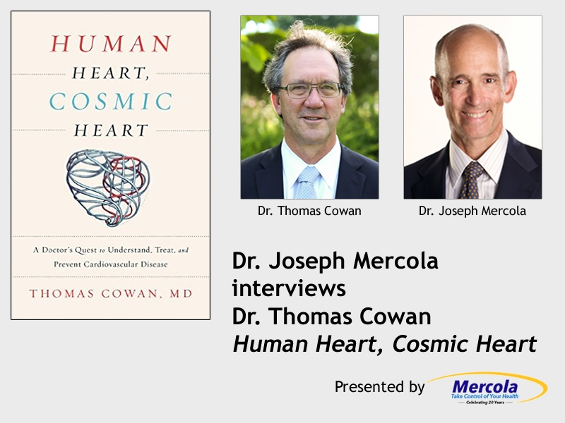 "Photos of Joseph Mercola, Thomas Cowan, and ""Human Heart, Cosmic Heart"" book cover"