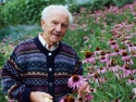 Alfred Vogel in field of purple coneflowers