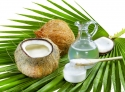 coconut, bottle and jar of coconut oil, wooden spoon on palm leaf