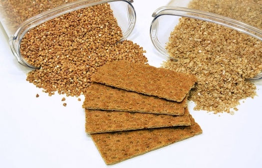 buckwheat granules, buckwheat flakes, and crispbread made from buckwheat flour